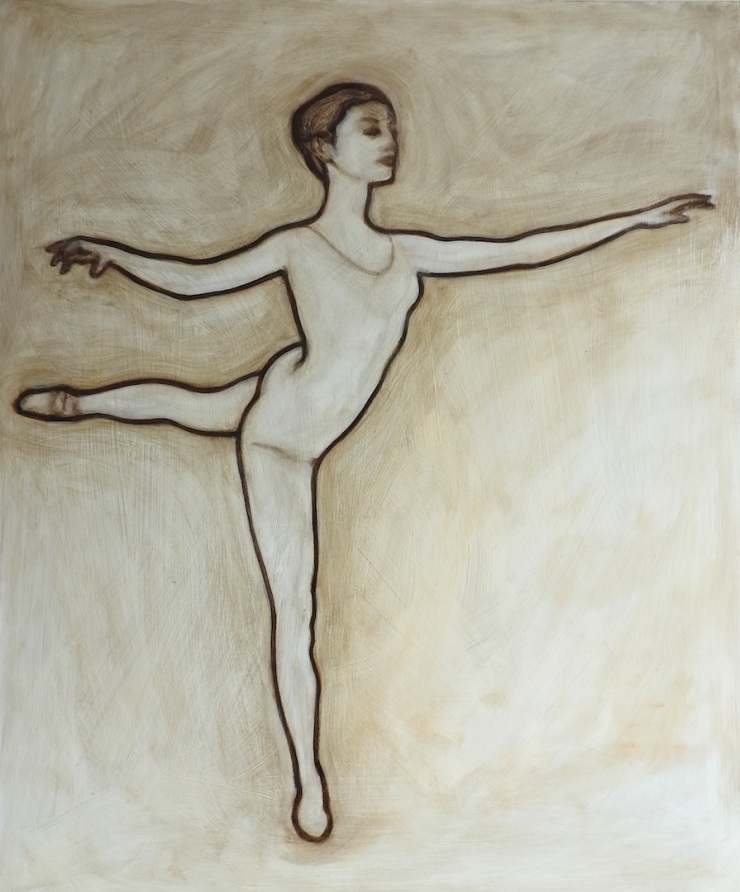 Oil painting of a ballerina in michael harding's umber oil paint, by matt harvey, UK based contemporary artist and portrait painter
