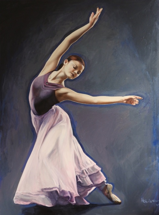 oil painting of a ballet dancer at night by matt harvey, contemporary artist and portrait painter