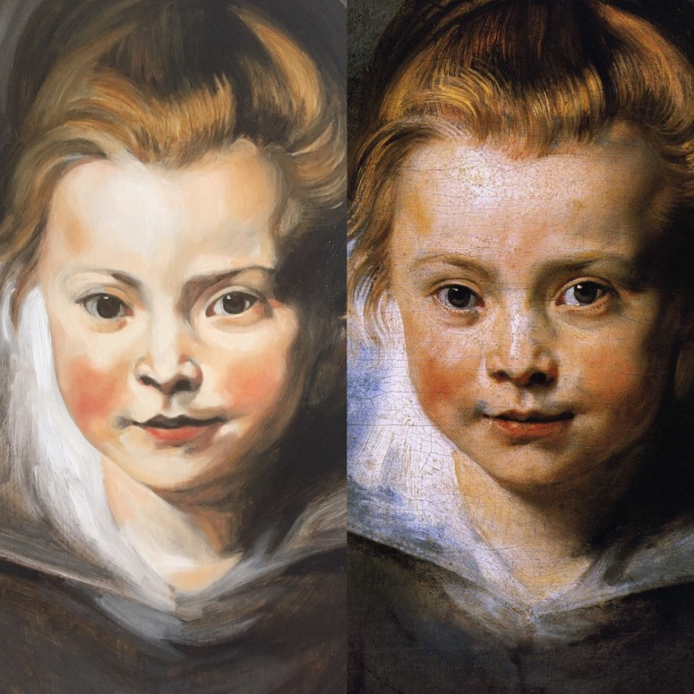 Art demonstration showing the techniques of the old masters. Portrait of a young girl after Peter Paul Rubens, by Matt Harvey, filmed in real time over 1 hour 15 minutes painting the glaze in 3 colours, Titanium White, Vermillion and Yellow Ochre