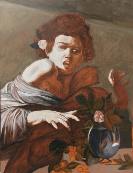 This is a copy of a Caravaggio at the underpainting stage where I have painted the grisaille and used Raw Umber and Burnt Umber to create the shadows