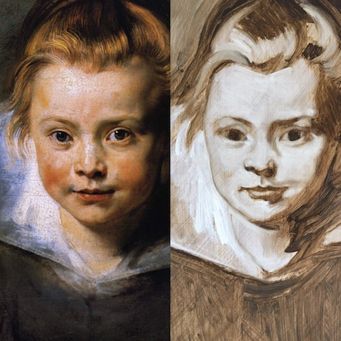 1st underpainting layer in Raw Umber and White of a copy of Rubens' portrait of a young girl by matt Harvey Art