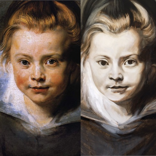 Peter Paul Rubens portrait of a young girl and a grisaille copy by Matt Harvey Art. Baroque painting and grisaille