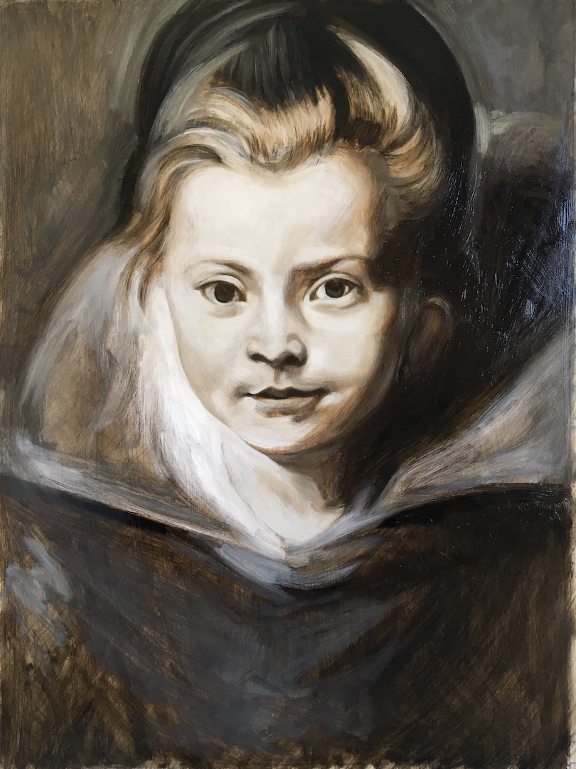 Grisaille underpainting by Matt Harvey of a copy of Rubens' portrait of a young girl. Available as a print in my etsy shop for anyone who wants to have a go glazing.