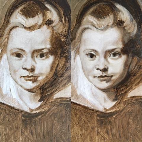 Rubens girl underpainting 1&2, oil on board, matt harvey art copy