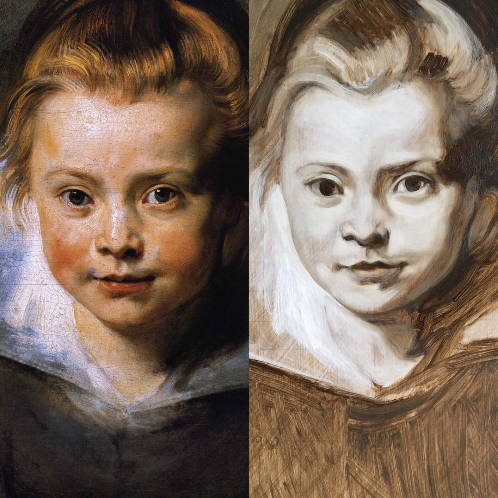 Rubens portrait of a young girl copied by Matt Harvey Art copy