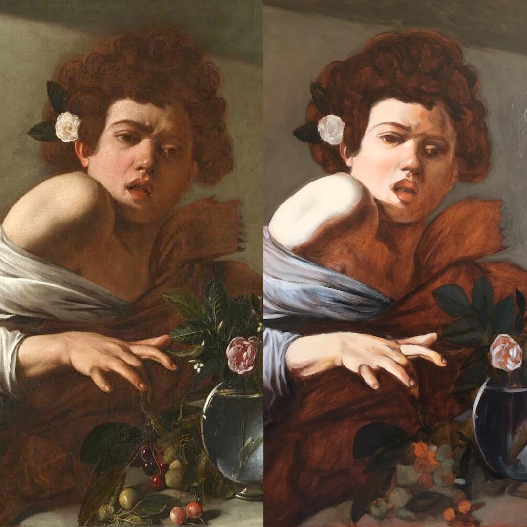 After Caravaggio, 1st glaze with original copy