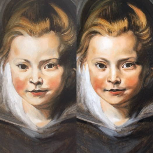 showing the difference between glazes on portrait painting of a young girl after Rubens, by Matt Harvey Art