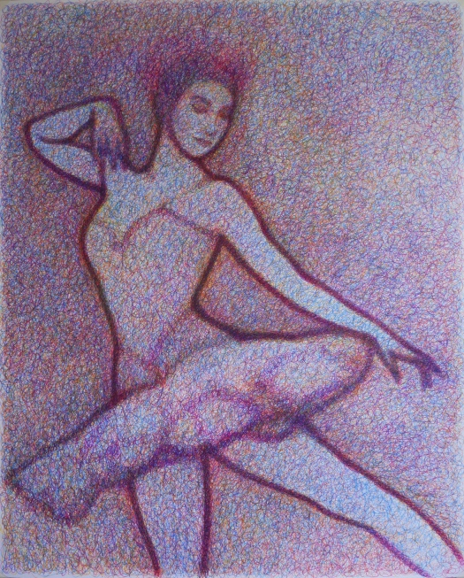 Drawing of a ballerina by Matt Harvey in felt tip pen. Figure drawing in colour, using rose madder, blue, yellow, orange and purple