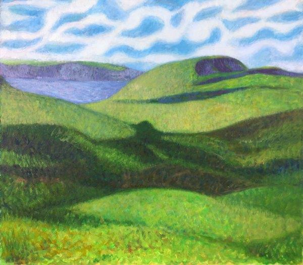 landscape painting of coastal cornwall countryside by UK portrait painter and artist Matt Harvey