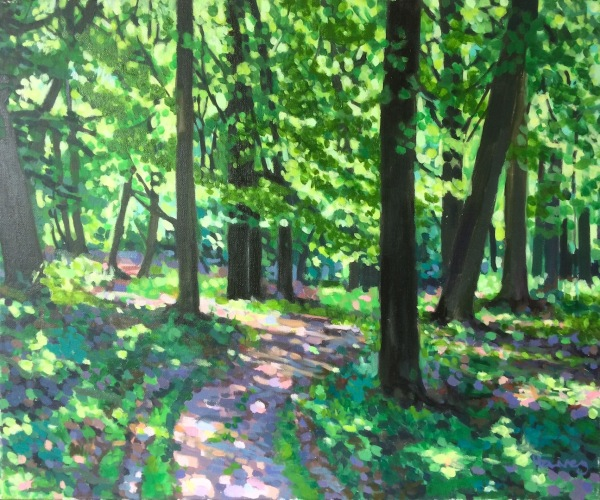 Oil painting of an Oxfordshire Beechwood in spring by Matt Harvey Uk portrait painter and artist