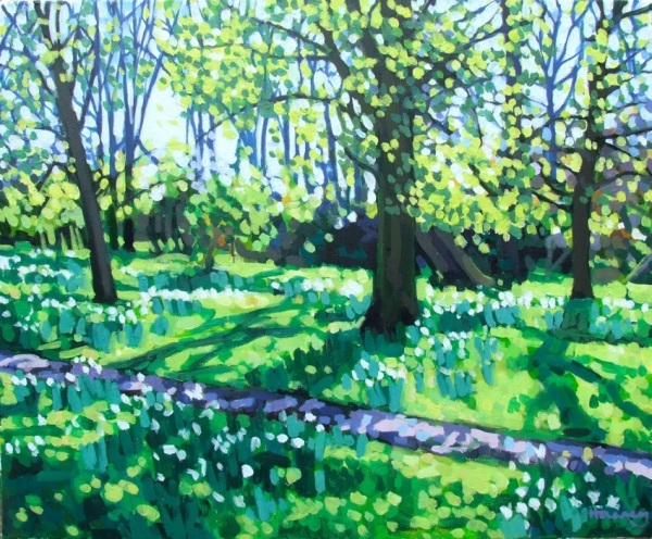 Beechwood in spring with daffodils, abstract painterly landscape by Matt Harvey Artist