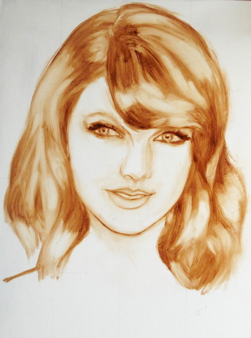 bistre drawing of Taylor Swift, oil on board using burnt umber and linseed oil medium. By UK portrait painter Matt Harvey Art