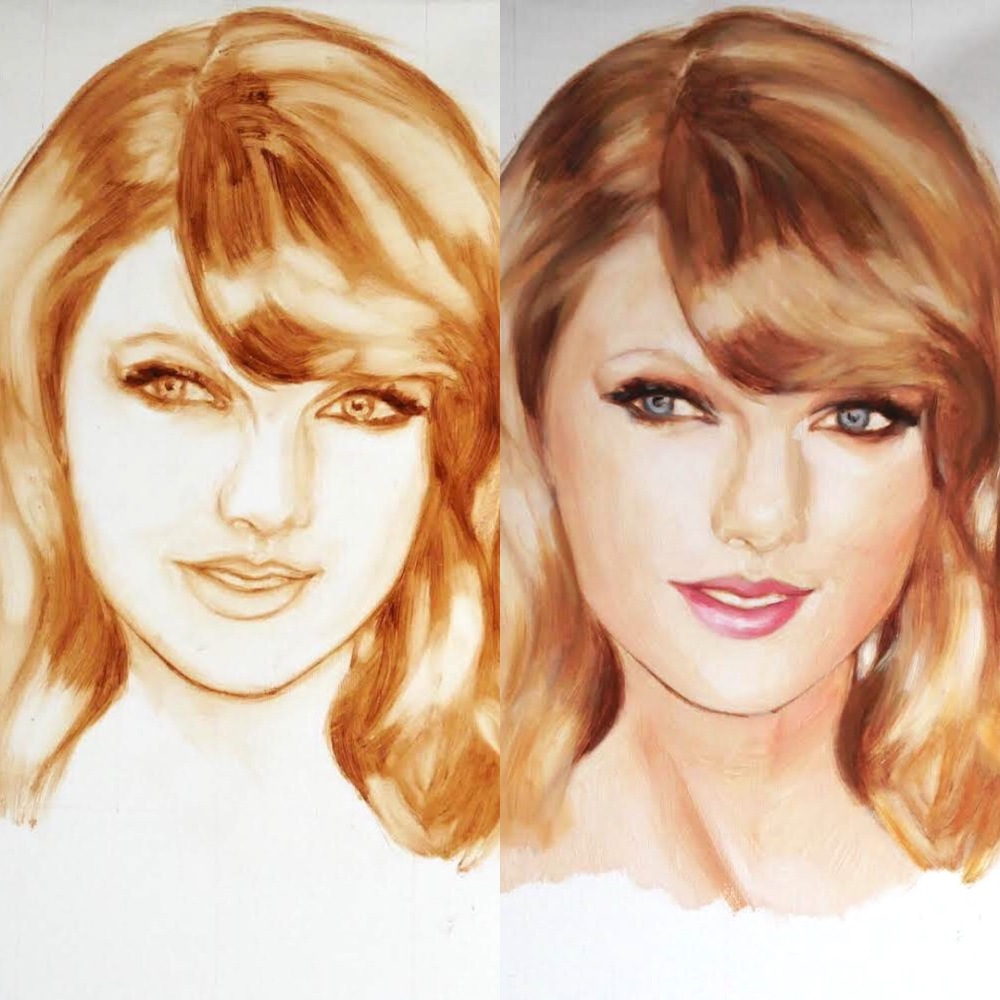 Portrait of Taylor Swift showing the drawing stage in burnt umber and linseed oil medium, and then the first colour glaze