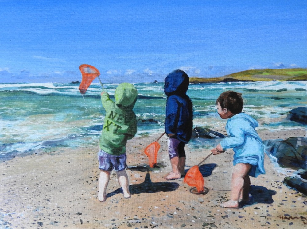 a painting of some boys rockpooling with nets in Cornwall in oil and acrylic by Matt Harvey portrait artist