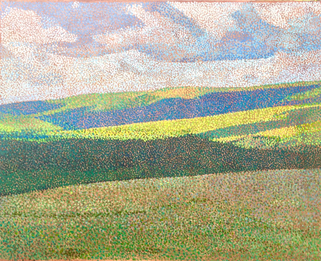 abstract landscape painting in pointillist style by Matt Harvey. Pointillism was invented by Seurat and was a post impressionist movement. Notable painters using this style were Signac and briefly, Matisse