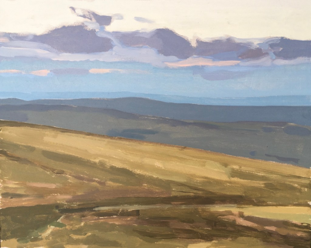 Oil painting of a view of British landscape in Devon, showing Dartmoor as seen from Haytor. This painting is for sale on my website.