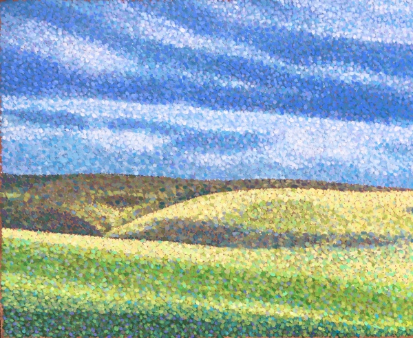 Oil painting in pointillist style for sale of sunlight pouring through the clouds on Dartmoor creating a jewel like effect