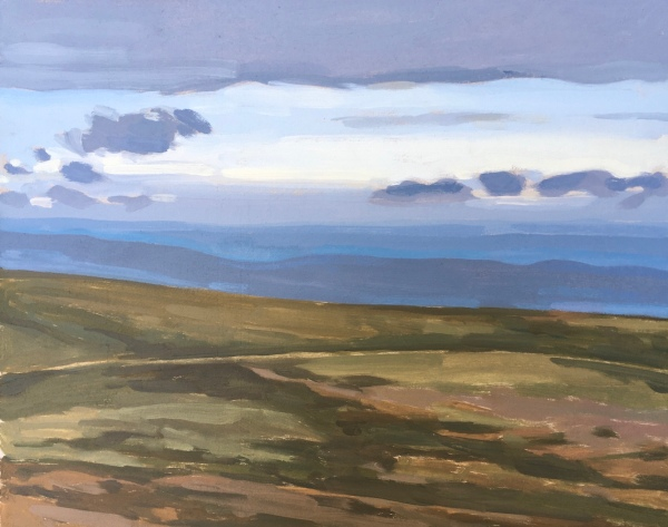 Blues and mauves against ochre moorland on this evening at Haytor, landscape painting by Matt Harvey Art