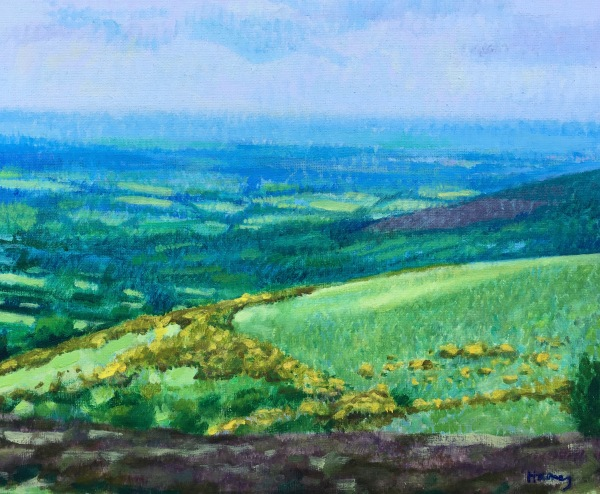 Painted in oil on canvas, capturing the light in atmospheric perspective, looking north over rolling devon moor and hills