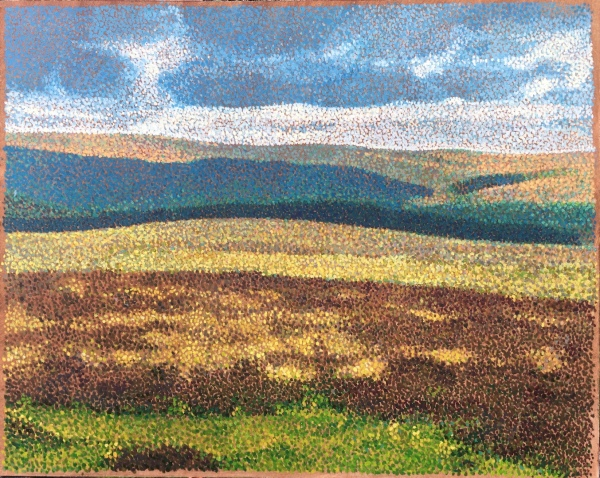 pointillist oil painting of landscape in Devon England, showing moorland and Dartmoor in changing light