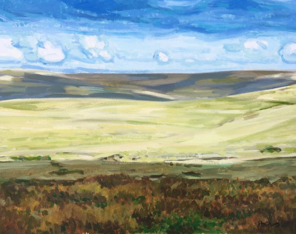Landscape oil painting of Dartmoor by contemporary British landscape painter Matt Harvey, available for purchase framed on my website