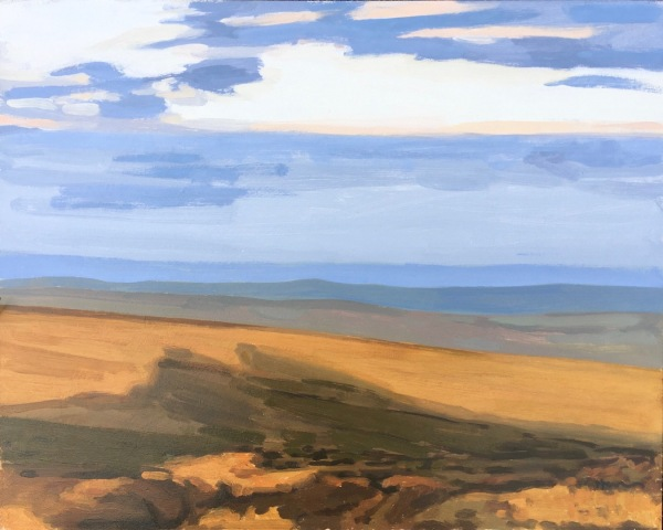 Painting in oil on board of shadows on the hills cast by Haytor on Dartmoor. Beautiful deep oranges against cool shadows and a pale blue sky create a scene of calm and tranquillity