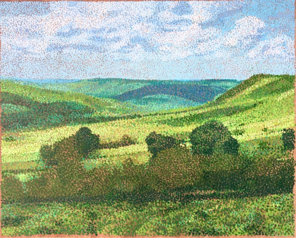 pointillist landscape painting showing trees and hills in the distance on Dartmoor, UK
