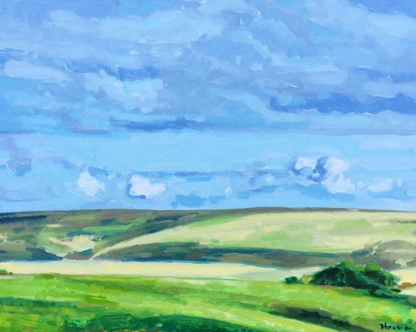 Landscape painting in oil on board by Matt Harvey art